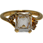 Ladies White Topaz Ring 10K Yellow Gold