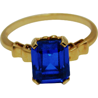 Ladies Royal  Blue Spinel 10K Gold Ring