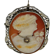 14K White  Gold Habille Cameo Pin/Pendant With Diamond Necklace