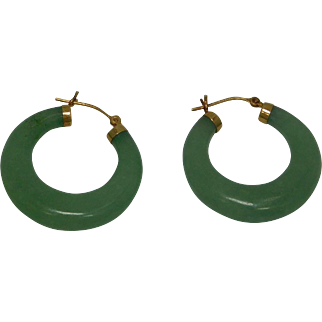 14K Yellow Gold  Green Jadite Hoop Earrings