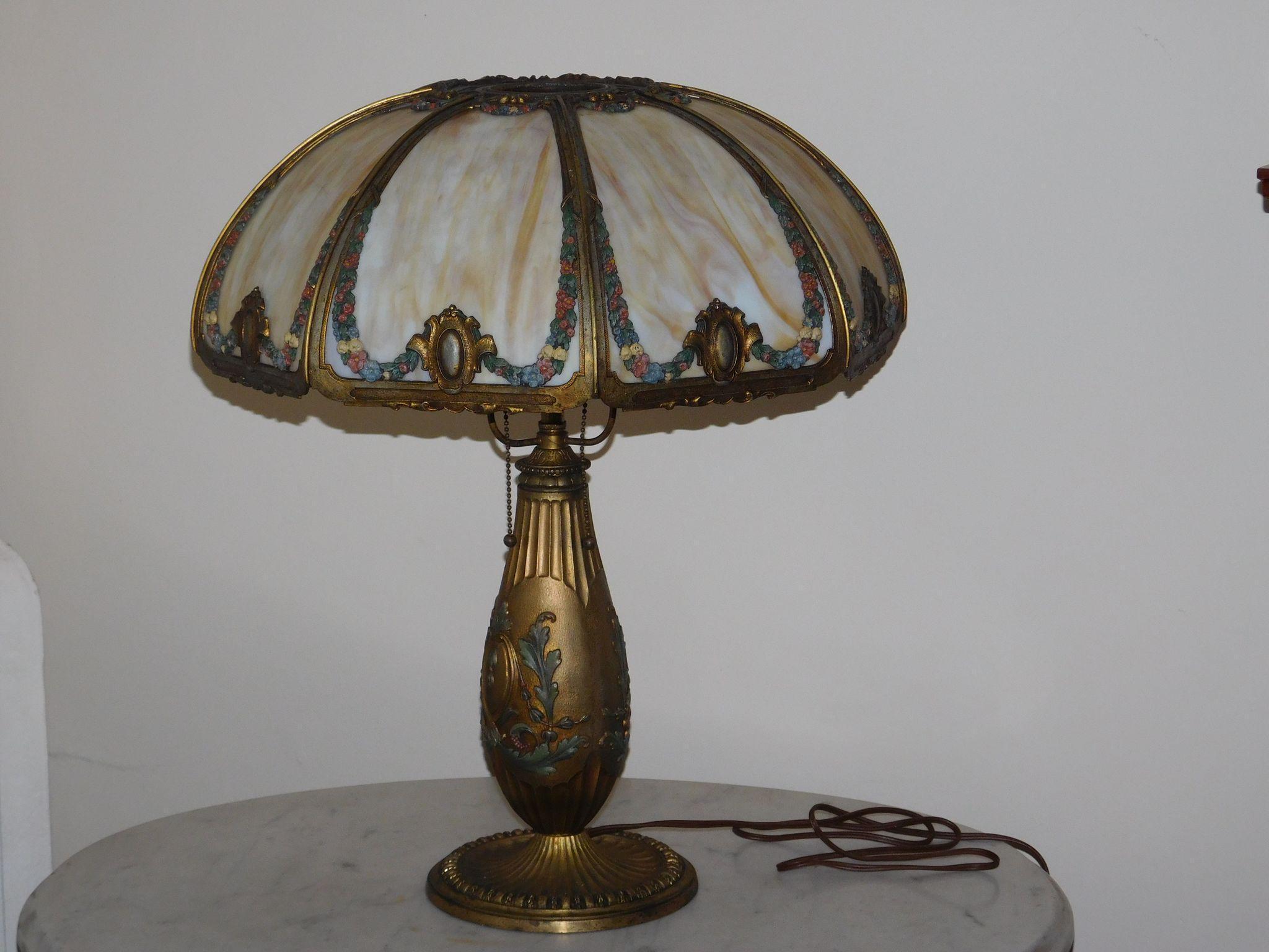 Vintage Flowered Slag Glass Table Lamp 8 Panel From