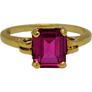 10K Emerald Cut Synthetic Ruby Ring