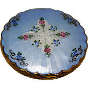 La Mode Guilloche Blue  Enamel Ladies Vintage Compact