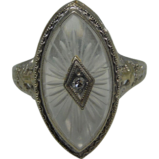 14K White Gold Camphor Glass And Diamond  Ladies Ring