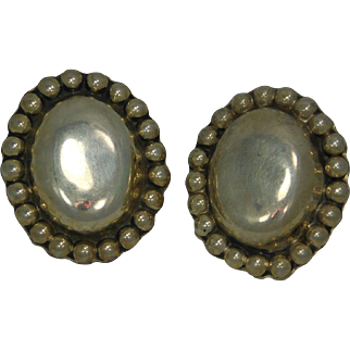 925 Sterling Silver Mexico  Button Earrings