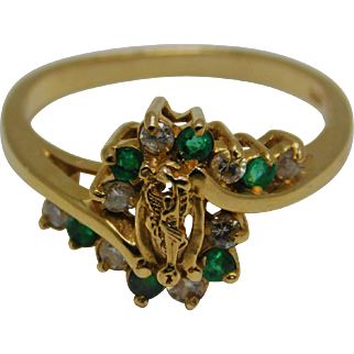 Emerald Green AND  Diamond 14k Gold Ring