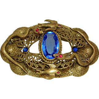 Victorian  Egyption Motif Sash  Brooch/Pin With Jeweled Snakes