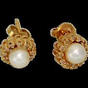 Pearl and Diamond Earrings Pierced