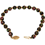 Cloisonne Beaded Bracelet with 14K Gold Yellow Accents