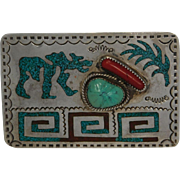 Southwestern Turquoise and Coral Belt Buckle On Sterling Silver