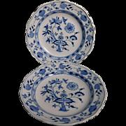 Two Blue Onion Meissen Soup Plates