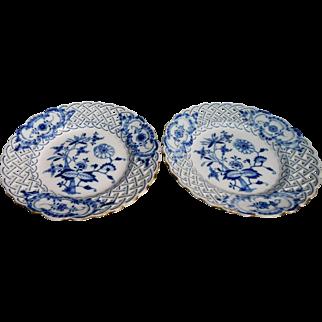 Meissen Blue Onion Plates Cross Sword