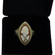 Habille Cameo Ring 14K White Gold Filigree Setting