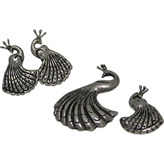 Mexico Sterling Silver Earing and Brooch set Signed Lampl