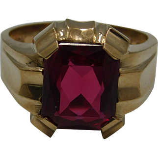 Men's Large Synthetic Ruby Ring 10K Yellow Gold