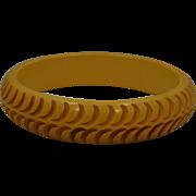 Butterscotch  carved  bakelite Bangle Bracelet