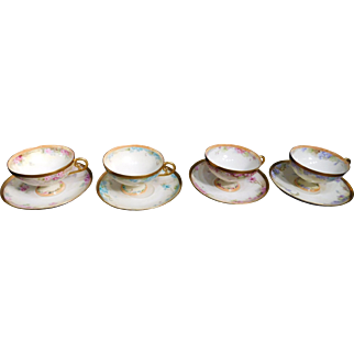 Four Tressemanes & Vogt Floral Cup And Saucer Sets Limoges France