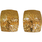 14K Yellow  Gold Textured  Clip Back Earings
