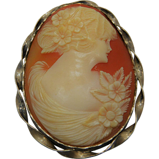 Large Sterling Silver Portrait Cameo Brooch