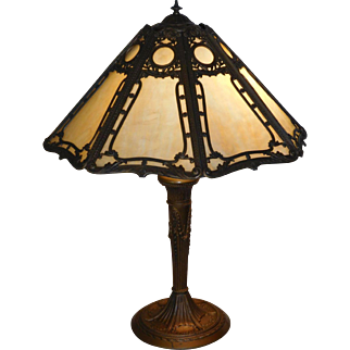 Antique Miller Slag Glass 8  Panel Table Lamp