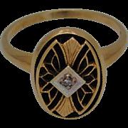 Ladies 10K Yellow Gold Black Onyx And Diamond Ring