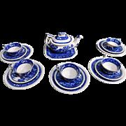 Rare Copeland Spode Tower Blue Childs Tea Set Set