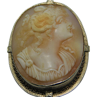 14K White Gold Cameo Pendant/Brooch
