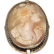 Vintage 14K White Gold Cameo Brooch/Pin
