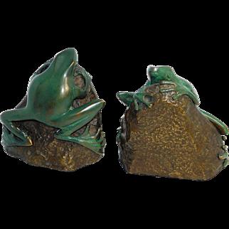 Bronze Frog Bookends