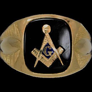 Men's 10k Yellow Gold  Masonic Ring