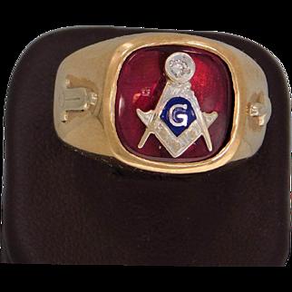 Men's 10K Yellow Gold Ruby And Diamond Masonic  Ring