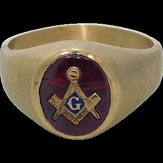 Man's Ruby 10K Yellow Gold Masonic Ring