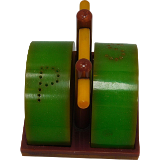 Rare Bakelite Vintage Cantelope Salt and Pepper Shakers in Carriage