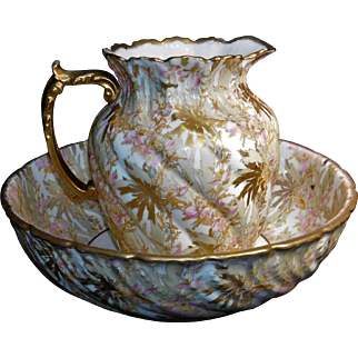 Victorian  Era French Limoges Wash Bowl and Pitcher set By A. Lanternier