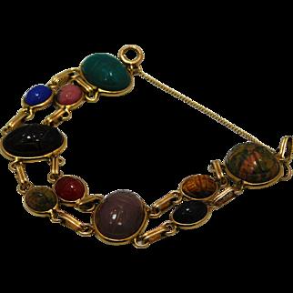 Vintage 1940's Egyptian Revival Double Link  Scarab Bracelet With Gemstones