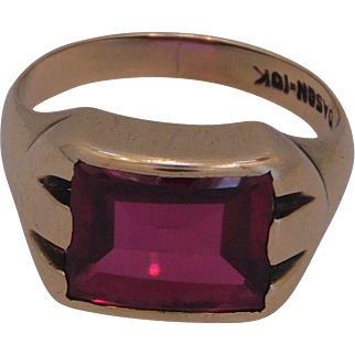 Man's Synthetic Ruby ring 10K Gold