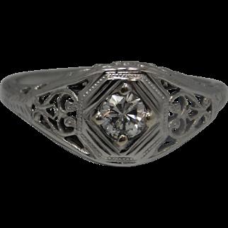 Vintage 14K  White Gold Art Deco  Diamond Ring