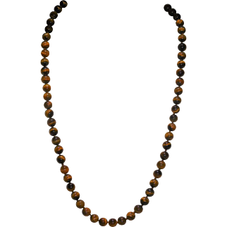 Tiger Eye Necklace And 10K Gold Clasp
