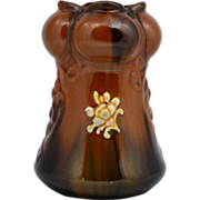 Peters and Reed Light Brown Standard Glaze Vase with Embossed Painted Flowers