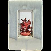 McCoy Pottery 1951 Arcature Dark Lavender with Red Bird Planter Vase
