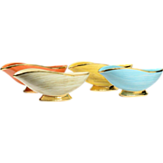 McCoy Pottery 1960s Harmony Banana Boat Bowl Planter with Gold Trimmed Set of 4