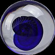 Blue Spiral Art Glass Paperweight Artist Signed