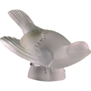 Lalique Frosted Crystal Swooping Sparrow Wings Out Sculpture