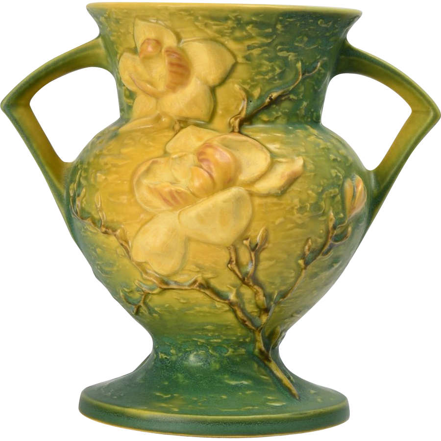 Roseville Pottery 1943 Trial Glaze Yellow Green Magnolia Vase 181 8 From Thekingsfortune On