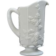 Westmoreland Paneled Grape Opaque Milk Glass Pitcher #1881