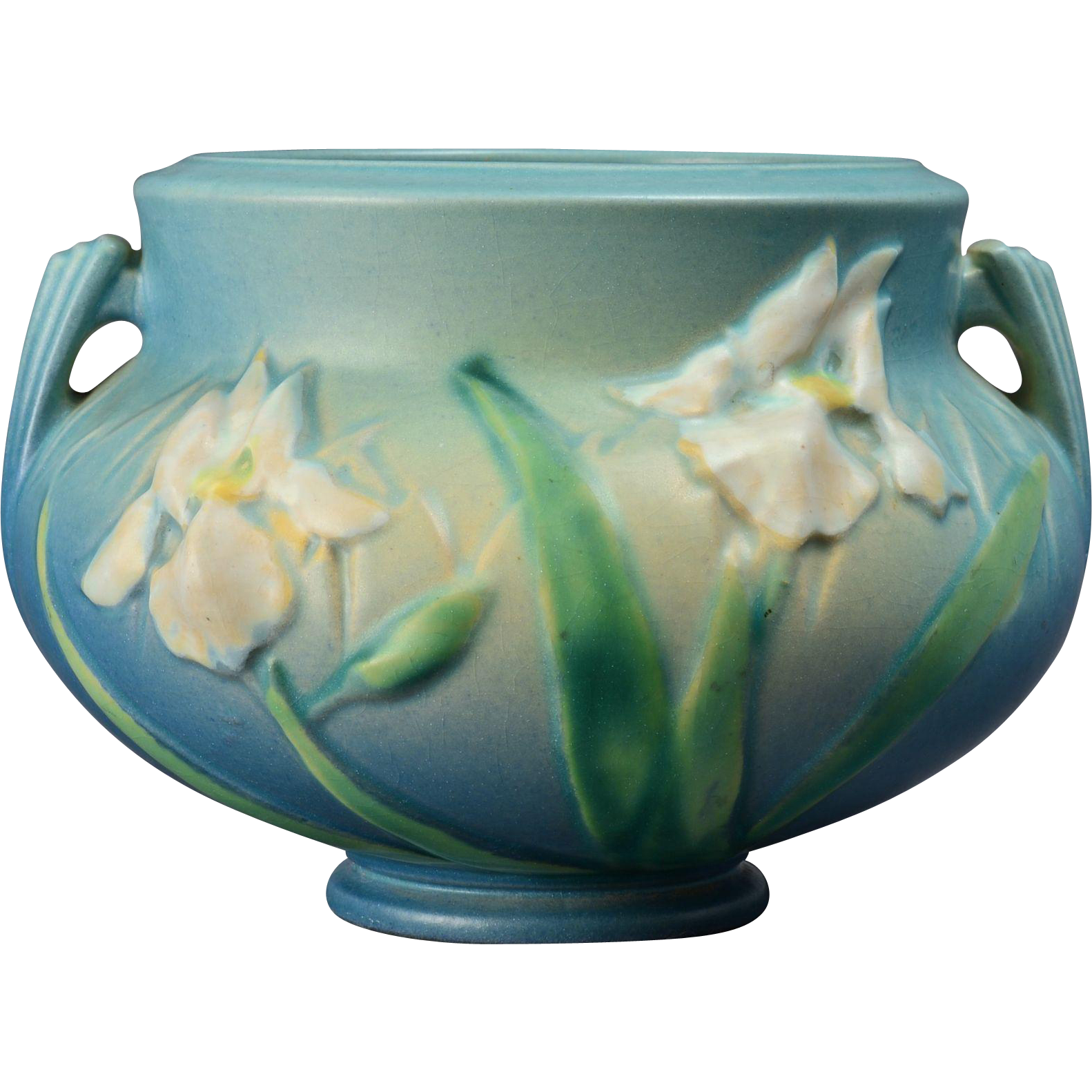 roseville pottery 1939 blue iris jardiniere pot shape 647. Black Bedroom Furniture Sets. Home Design Ideas