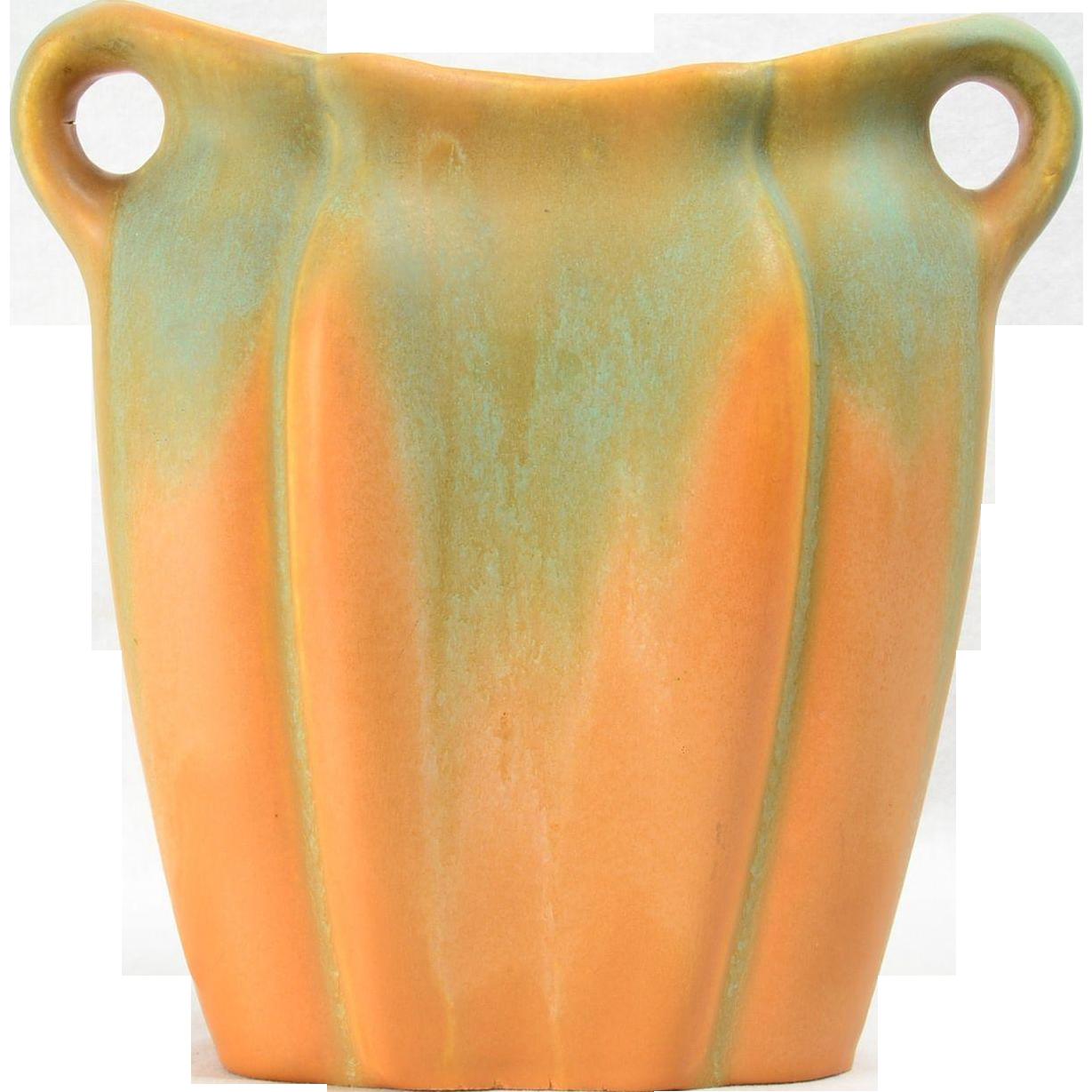 1930's Muncie Pottery Green drip over Pumpkin Vase with Handles Shape 192-9 MUNCIE 2A