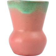Muncie Pottery 1930's Green drip over Rose Pink Vase Shape 472-5 5A