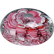 St Clair Glass 1971 Large Paperweight with Red Ribbon