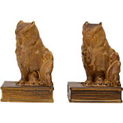 Rookwood Pottery Owl  Bookends in Mat Brown (Shape #2655) by W McDonald, ca. 1927